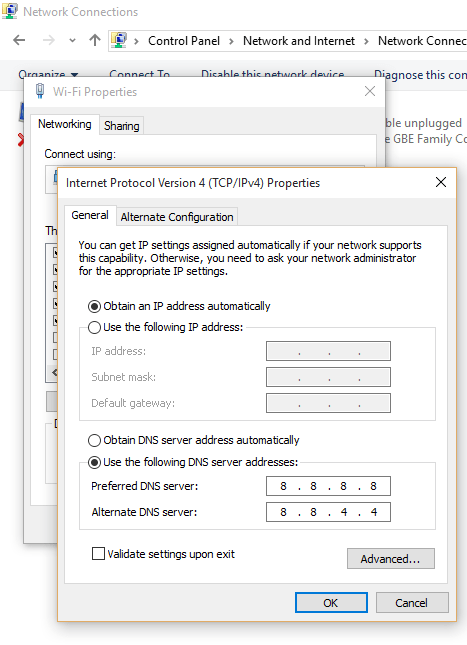 Change DNS resolve to Google Public DNS