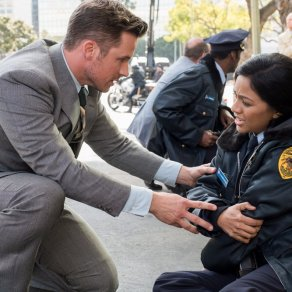 "TIMELESS -- ""The Day Reagan Was Shot"" Episode 208 -- Pictured: (l-r) Matt Lanter as Wyatt Logan, Karen David as Young Denise Christopher -- (Photo by: Colleen Hayes/NBC)"