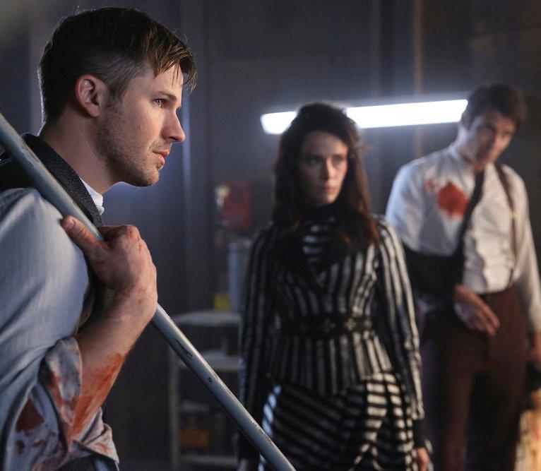 "TIMELESS -- ""A History of San Fran"" Episode 210 -- Pictured: (l-r) Matt Lanter as Wyatt Logan, Abigail Spencer as Lucy Preston, Goran Visnjic as Garcia Flynn -- (Photo by: Patrick Wymore/NBC)"