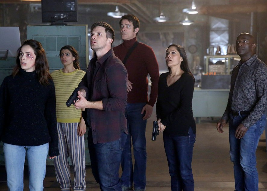 "TIMELESS -- ""A History of San Fran"" Episode 210 -- Pictured: (l-r) Abigail Spencer as Lucy Preston, Caludia Doumit as Jiya, Matt Lanter as Wyatt Logan, Goran Visnjic as Garcia Flynn, Sakina Jaffery as Agent Christopher, Paterson Joseph as Connor Mason -- (Photo by: Patrick Wymore/NBC)"
