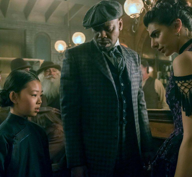 "TIMELESS -- ""A History of San Fran"" Episode 210 -- Pictured: (l-r) Megan Liu as Fei Yunshan, Malcolm Barrett as Rufus Carlin, Claudia Doumit as Jiya -- (Photo by: Ron Batzdorff/NBC)"