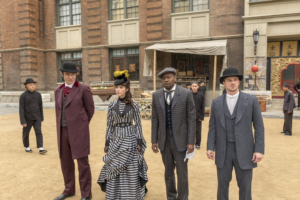 "TIMELESS -- ""A History of San Fran"" Episode 210 -- Pictured: (l-r) Goran Visnjic as Garcia Flynn, Abigail Spencer as Lucy Preston, Malcolm Barrett as Rufus Carlin, Matt Lanter as Wyatt Logan -- (Photo by: Ron Batzdorff/NBC)"