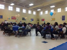 Perkerson parents packed the school's gymnasium to learn more about Perkerson's dual immersion Spanish and STEAM programs
