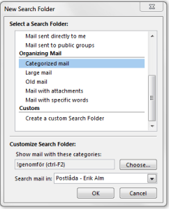 "The ""New Search Folder""-dialog"