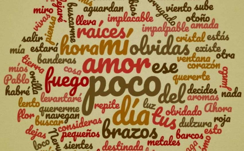 Nube de palabras Si tu me olvidas Pablo Neruda