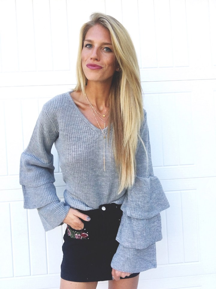 Grey Ruffle Sweater with Layered Necklace