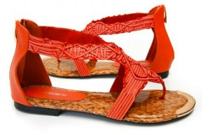 coral large size gladiator sandals