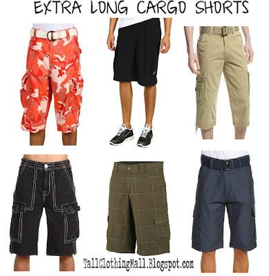 Men 39 s extra long cargo shorts tall clothing mall for Extra long mens dress shirts