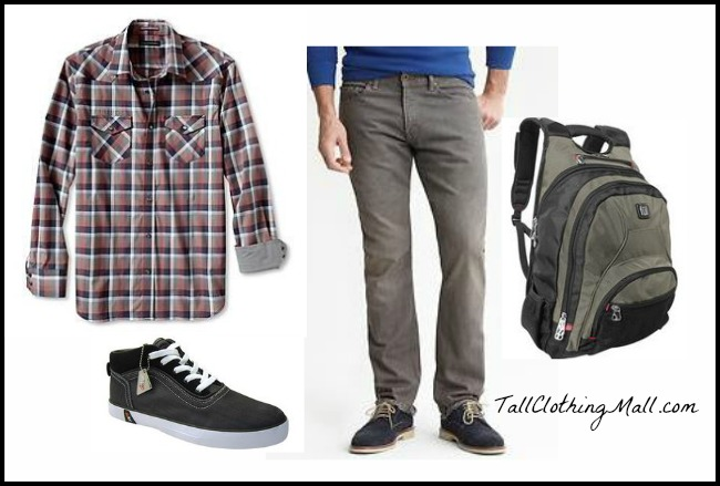mens tall plaid shirt and outfit