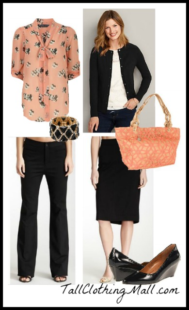 black and coral tall outfit