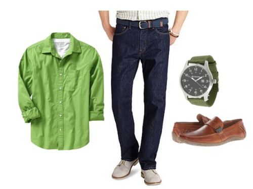 men's big and tall outfit with green