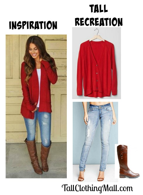 women's red tall cardigan