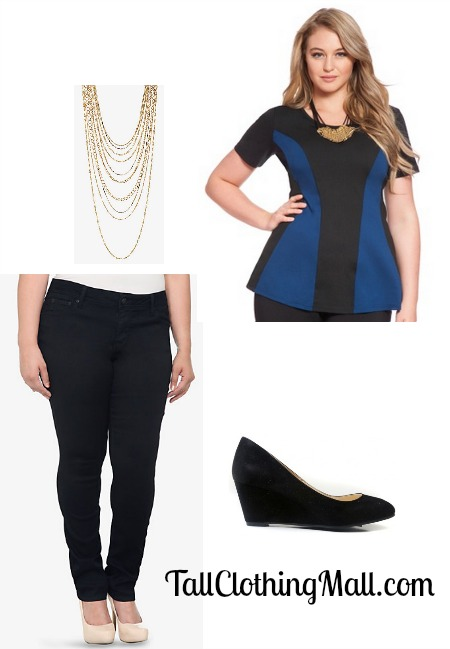 51f0e92ea1a Tall Plus Size Skinny Jeans and Colorblock Top - Tall Clothing Mall