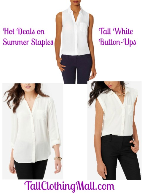 tall white button up shirts