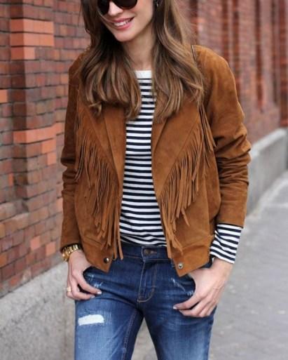 sude fringe jacket