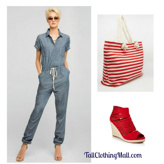 tall denim jumpsuit outfit
