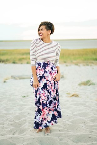 tall maxi dress with stripes