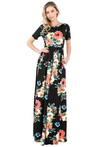 Floral Tall and Plus Size Maxi Dress - Tall Clothing Mall
