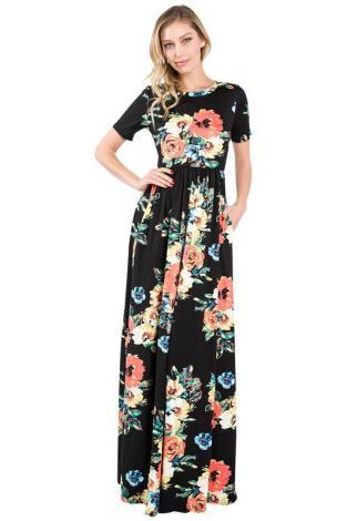 tall maxi dress black floral