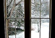 snowy window warm welcome