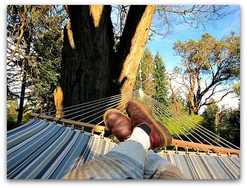 feet up relaxing in the hammock