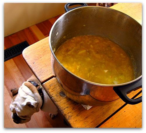potato leek soup in the making