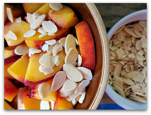 peach and almonds in a great cake recipe