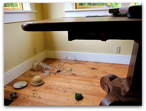 pedestal table broken glass