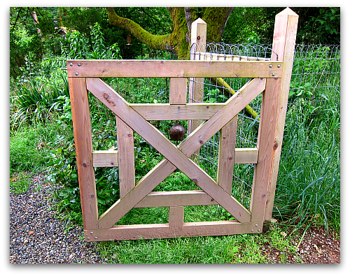 garden gate at Tall Clover Farm