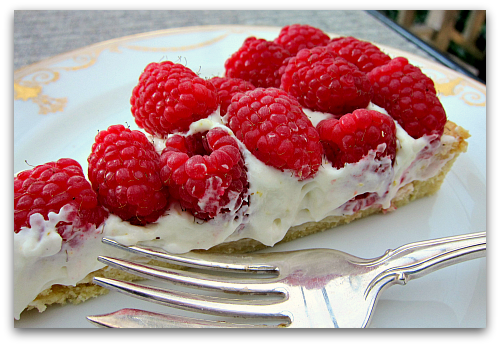 sour cream raspberry tart slice