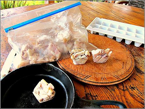 bacon bits frying pan