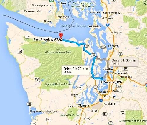 Map Vashon to Port Angeles