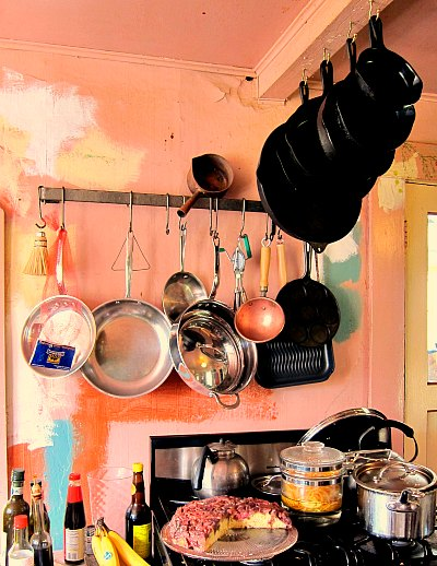 Cast iron pans on the ceiling