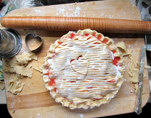 peach melba pie lattice top