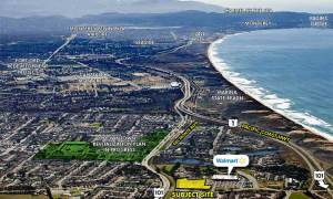 aerial view Marina Landing Shopping Center- Marina, CA
