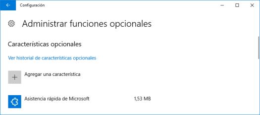 Administrar funciones opcionales de Windows 10
