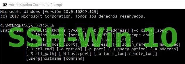SSH en Windows 10