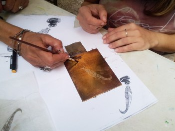 First etching workshop we organized: soft ground and aquatint.