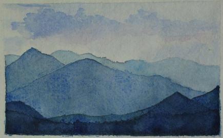Paisatge de muntanyes a l'aquarel·la. Cursos a 4 PINTORS Barcelona