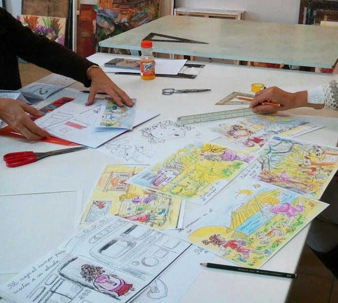 Manipulación originales para cuento infantil. 4 Pintors Barcelona