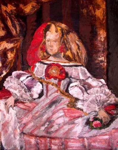 La Infanta. Copia de Velázquez al óleo en escuela de 4 Pintores