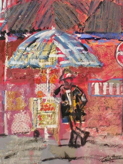 Pintura d'un alumne en acrílic i collage