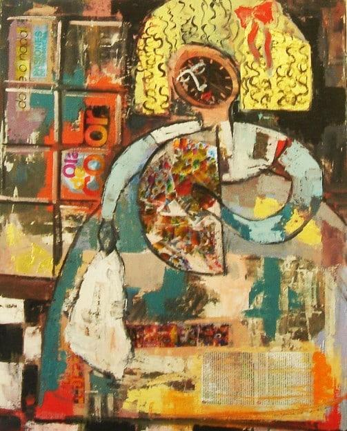 Tècnica mixta: pintura i collage. Un exercici del Taller 4 Pintors