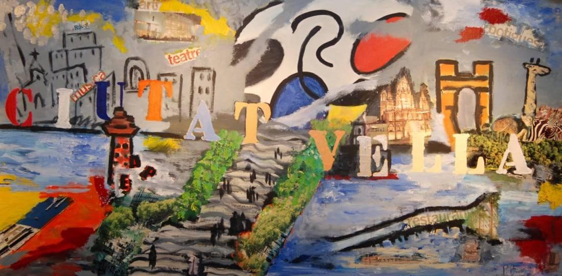 Pintura combinada amb collage al Taller 4 Pintors. Barcelona