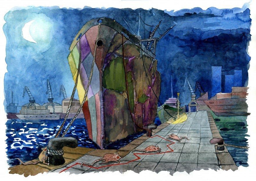 Original a l'aquarel·la d'alumne del curs d'il·lustració a Barcelona