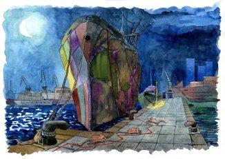 Original a acuarela de alumno del curso de ilustración. 4 Pintors Barcelona