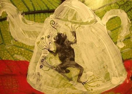 Ilustración de una tetera con rana. Acrílico sobre papel foto. Taller 4 Pintors BARCELONA