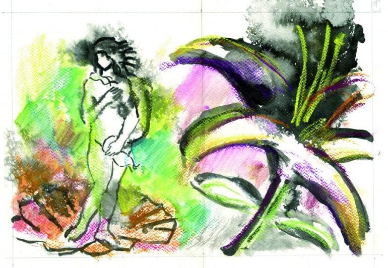 Venus y flor. Acuarela y tinta en clase de ilustración en Barcelona