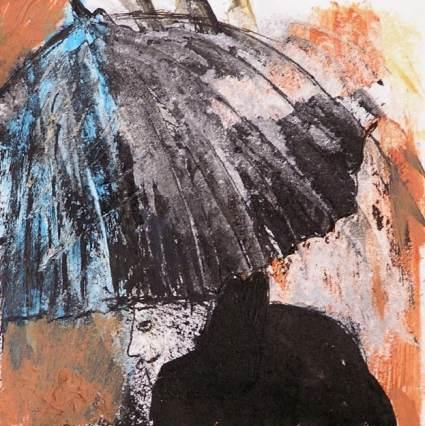 Lluvia. Dibujo a tinta y acrílico sobre papel. Curso arte 4 Pintors