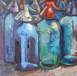 Botellas. Cuadro al óleo en cursos de pintura de Barcelona